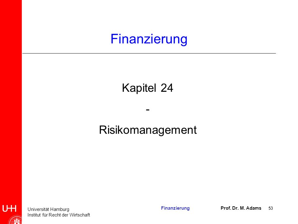 Finanzierung Kapitel 24 - Risikomanagement 2