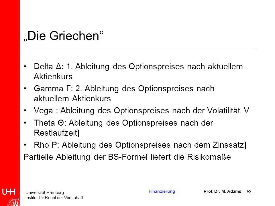 """""""Die Griechen Delta Δ: 1. Ableitung des Optionspreises nach aktuellem Aktienkurs."""