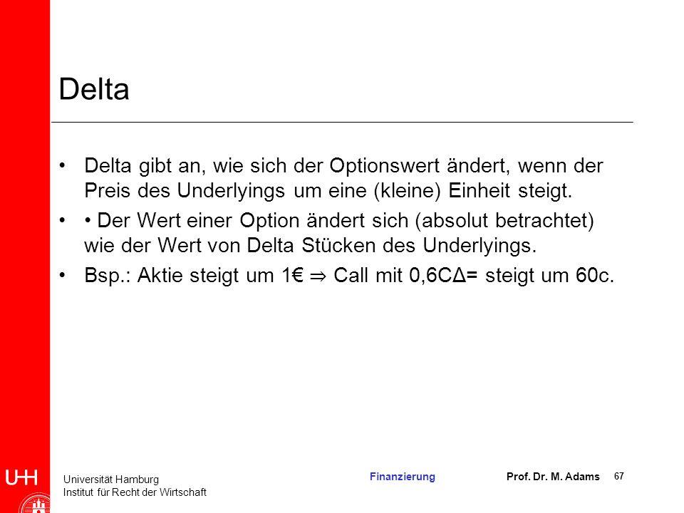 Delta Delta gibt an, wie sich der Optionswert ändert, wenn der Preis des Underlyings um eine (kleine) Einheit steigt.