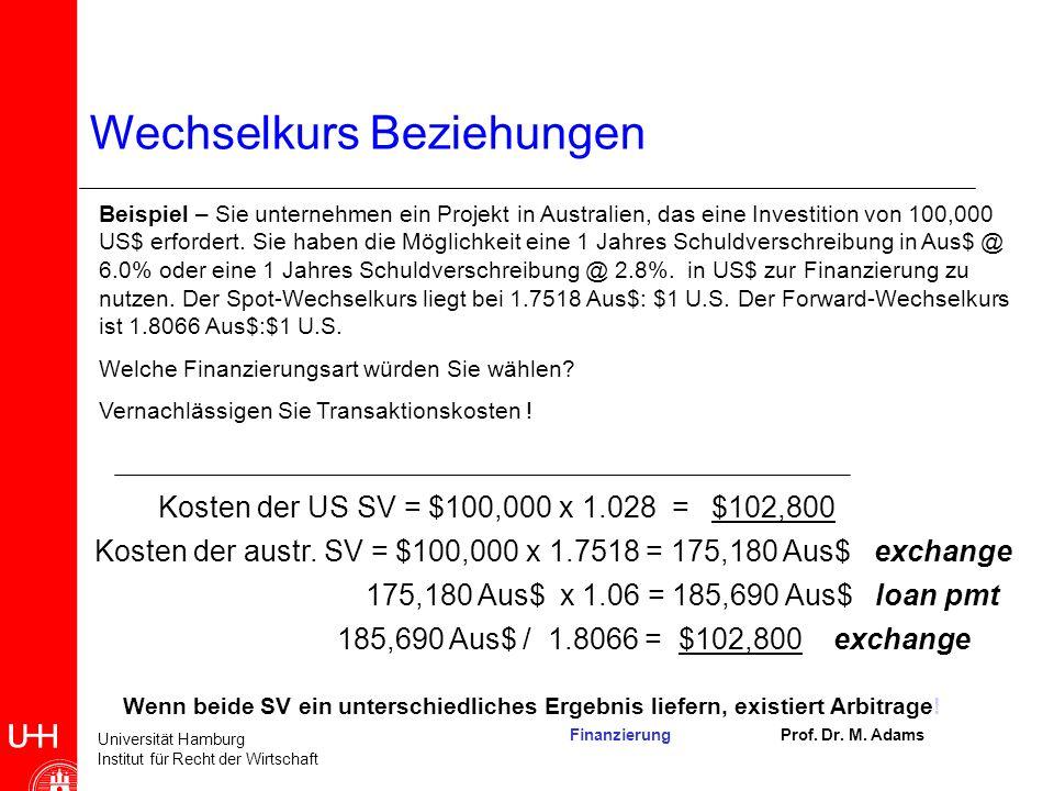 Kosten der austr. SV = $100,000 x 1.7518 = 175,180 Aus$ exchange