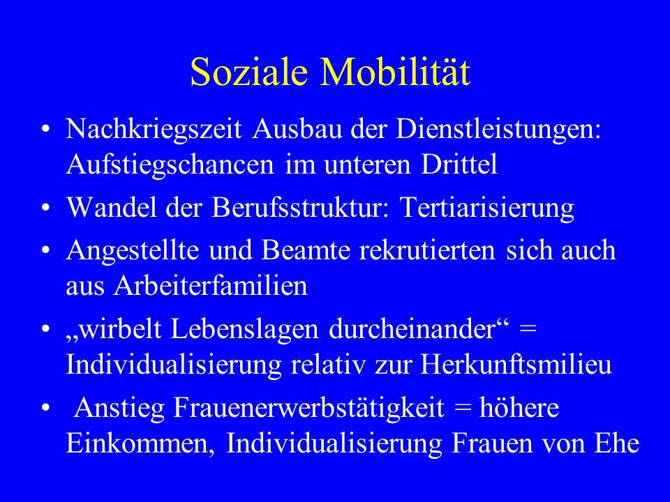 Soziale Mobilität Nachkriegszeit Ausbau der Dienstleistungen: Aufstiegschancen im unteren Drittel. Wandel der Berufsstruktur: Tertiarisierung.