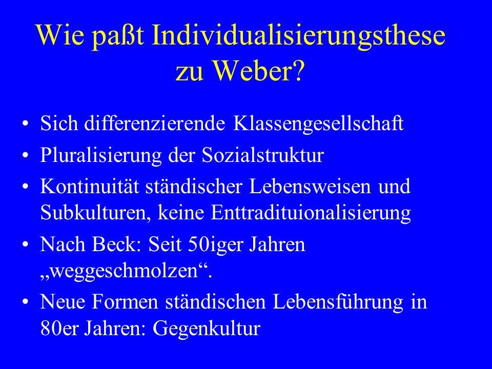 Wie paßt Individualisierungsthese zu Weber