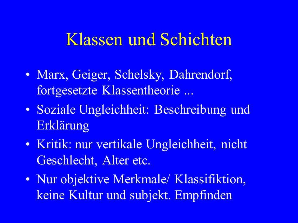 Klassen und Schichten Marx, Geiger, Schelsky, Dahrendorf, fortgesetzte Klassentheorie ... Soziale Ungleichheit: Beschreibung und Erklärung.