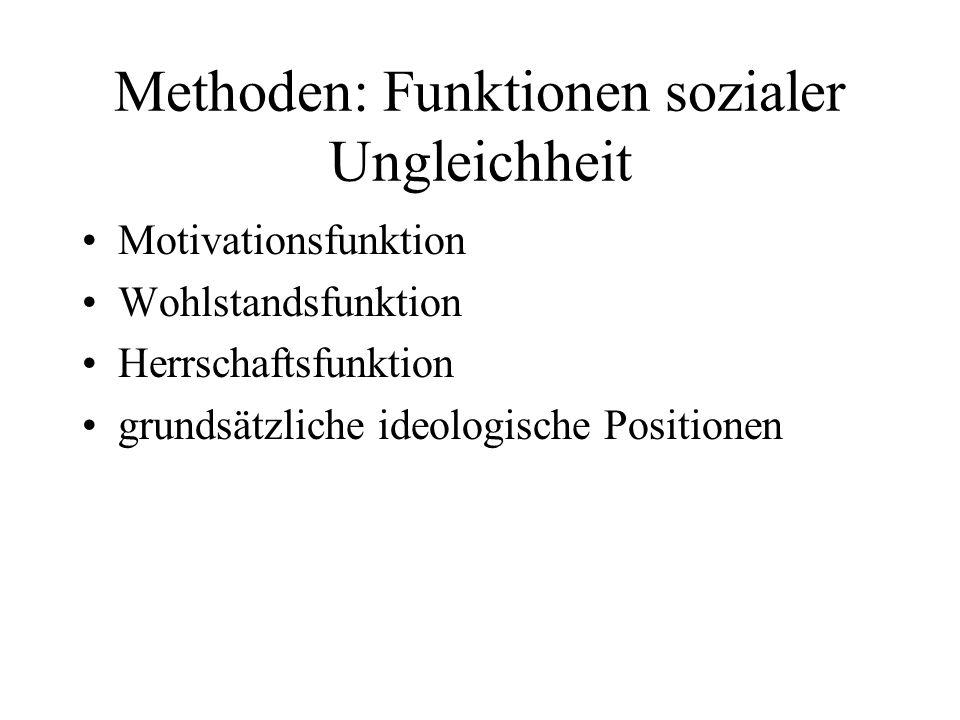 Methoden: Funktionen sozialer Ungleichheit