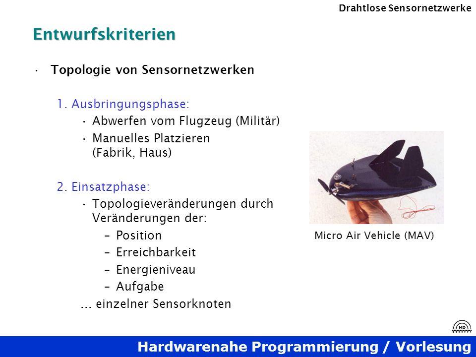 Entwurfskriterien Topologie von Sensornetzwerken 1. Ausbringungsphase: