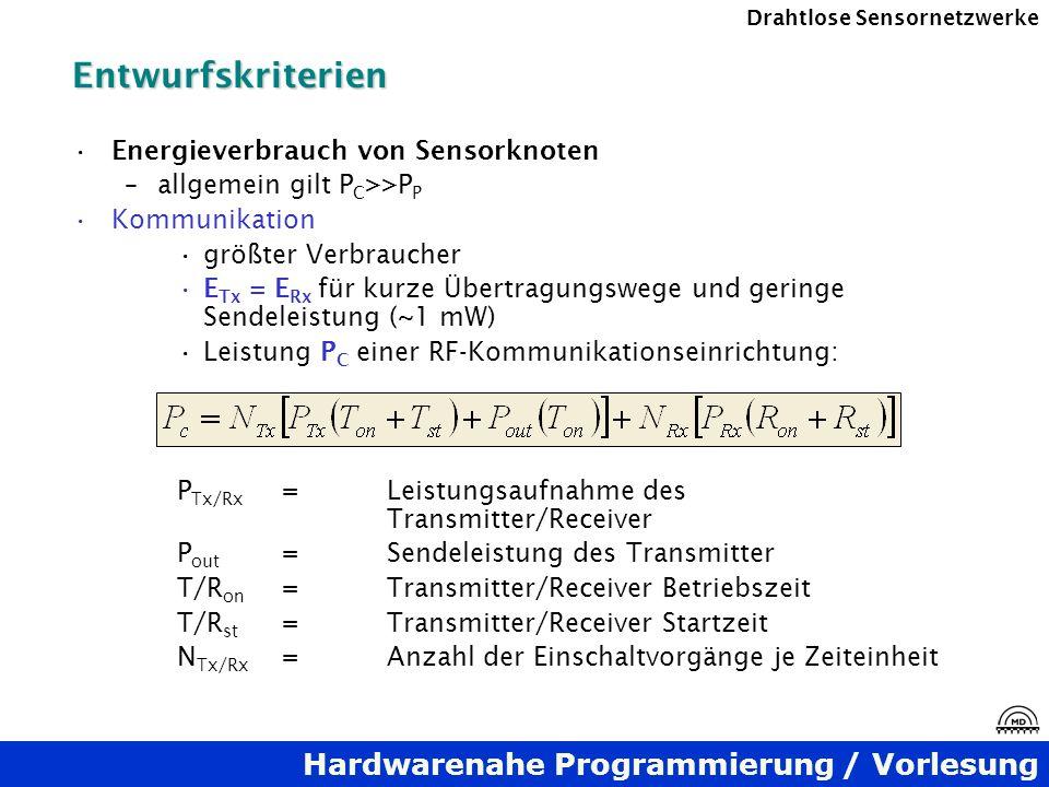 Entwurfskriterien Energieverbrauch von Sensorknoten