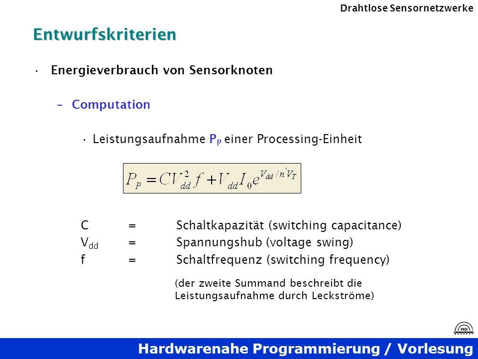Entwurfskriterien Energieverbrauch von Sensorknoten Computation
