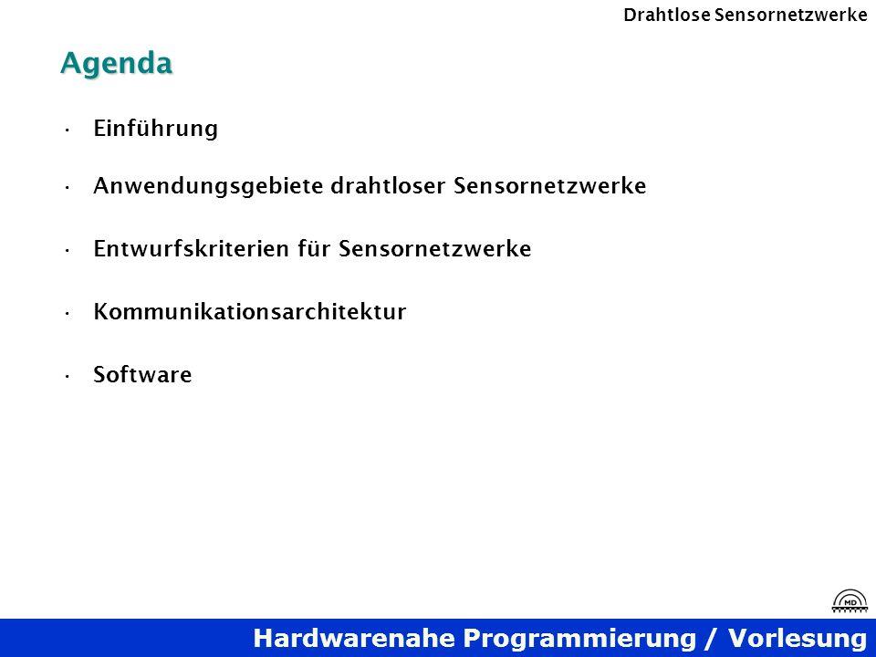 Agenda Einführung Anwendungsgebiete drahtloser Sensornetzwerke