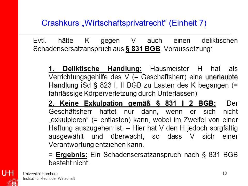 """Crashkurs """"Wirtschaftsprivatrecht (Einheit 7)"""