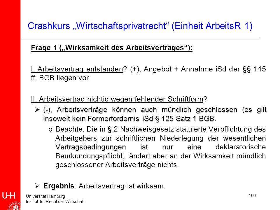 """Crashkurs """"Wirtschaftsprivatrecht (Einheit ArbeitsR 1)"""