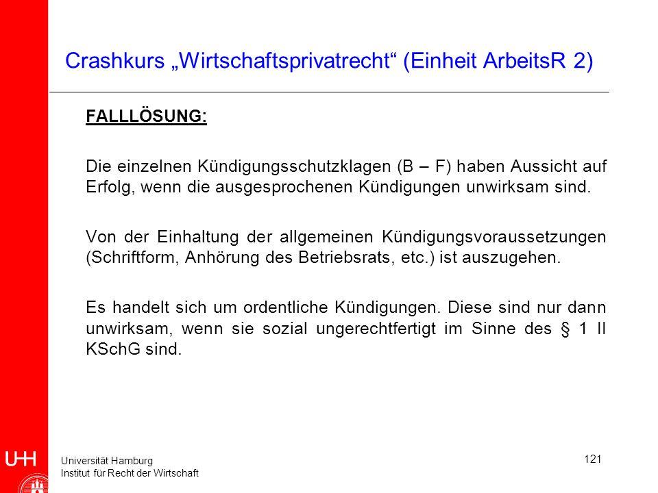 """Crashkurs """"Wirtschaftsprivatrecht (Einheit ArbeitsR 2)"""