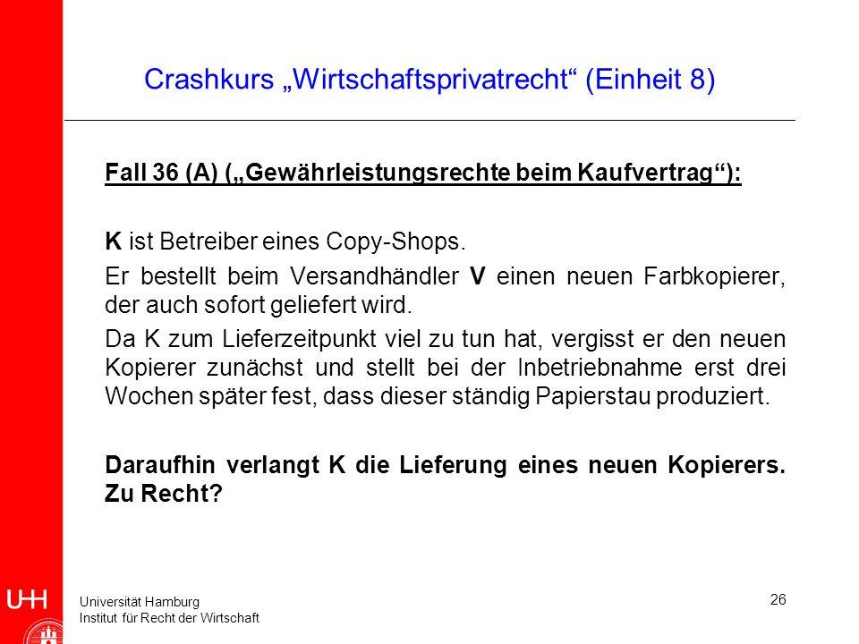 """Crashkurs """"Wirtschaftsprivatrecht (Einheit 8)"""