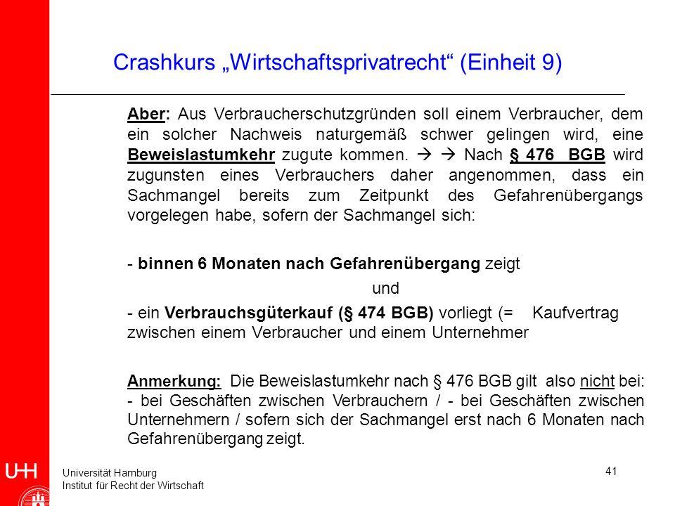"""Crashkurs """"Wirtschaftsprivatrecht (Einheit 9)"""