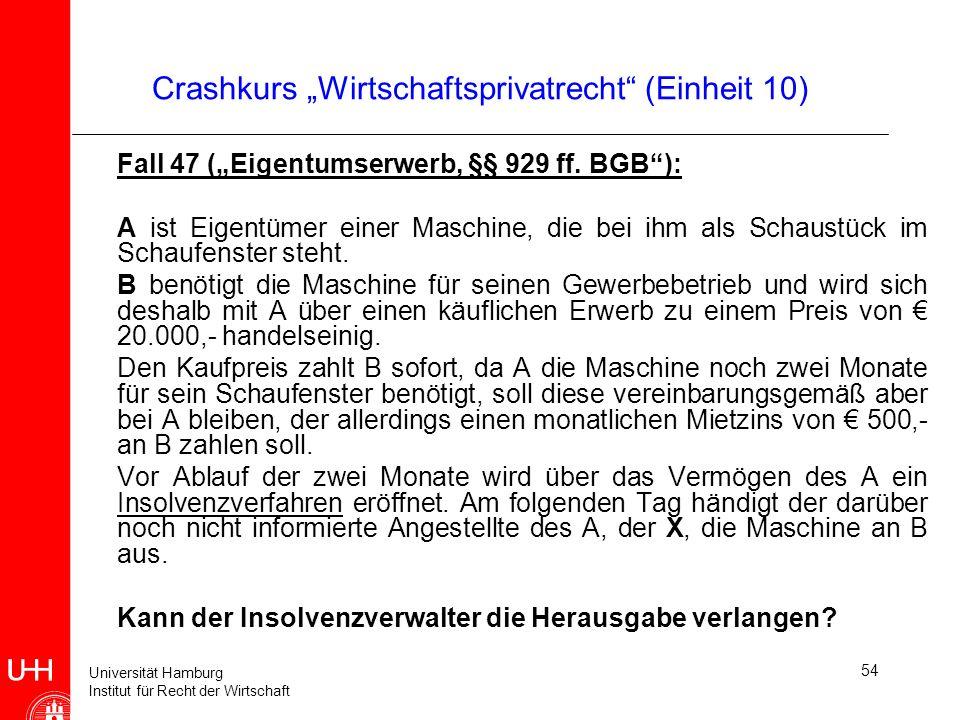 """Crashkurs """"Wirtschaftsprivatrecht (Einheit 10)"""