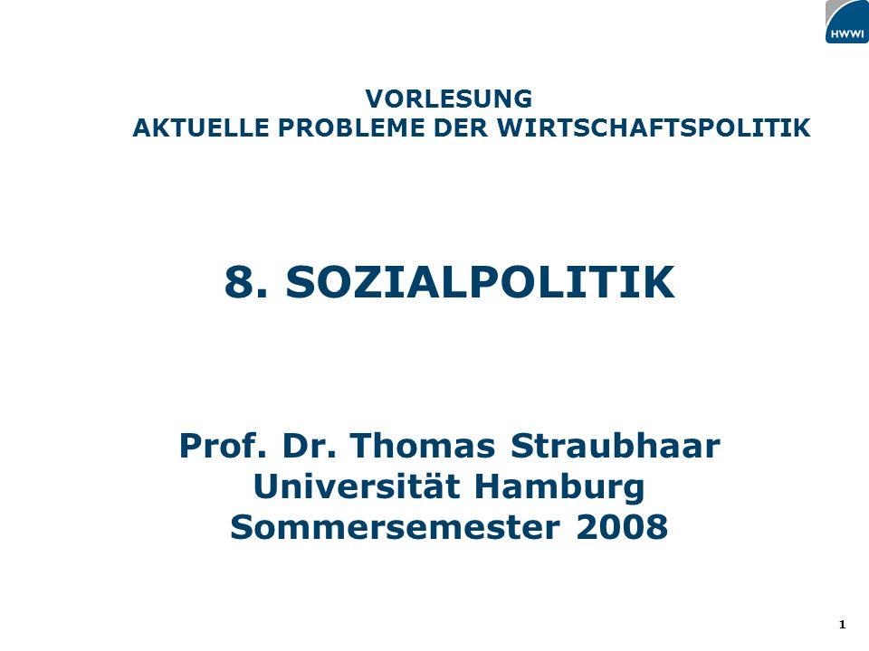 8. SOZIALPOLITIK Prof. Dr. Thomas Straubhaar Universität Hamburg