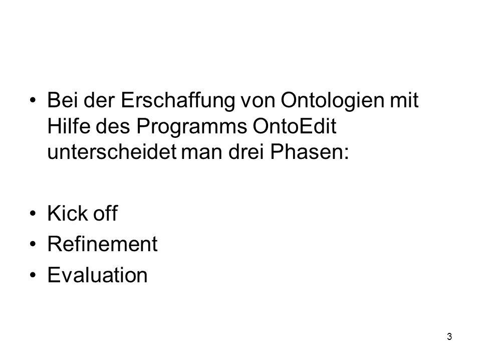 Bei der Erschaffung von Ontologien mit Hilfe des Programms OntoEdit unterscheidet man drei Phasen:
