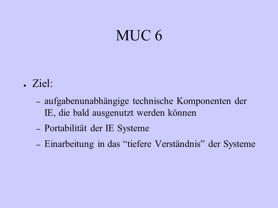 MUC 6 Ziel: aufgabenunabhängige technische Komponenten der IE, die bald ausgenutzt werden können.