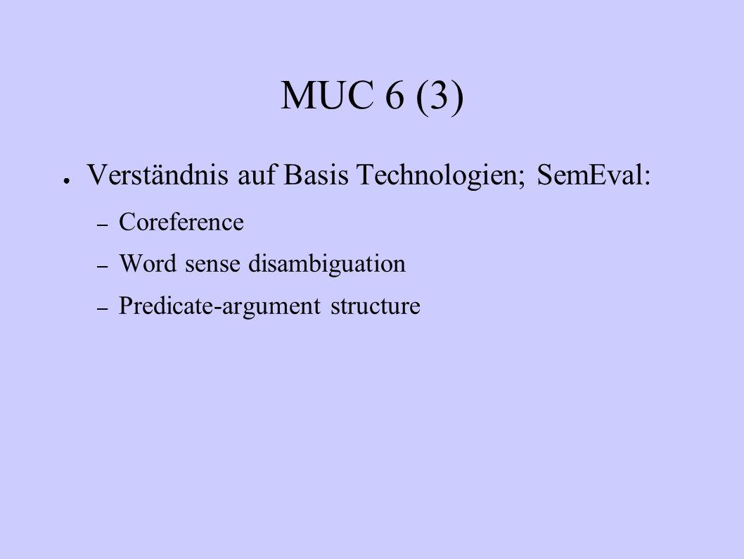 MUC 6 (3) Verständnis auf Basis Technologien; SemEval: Coreference