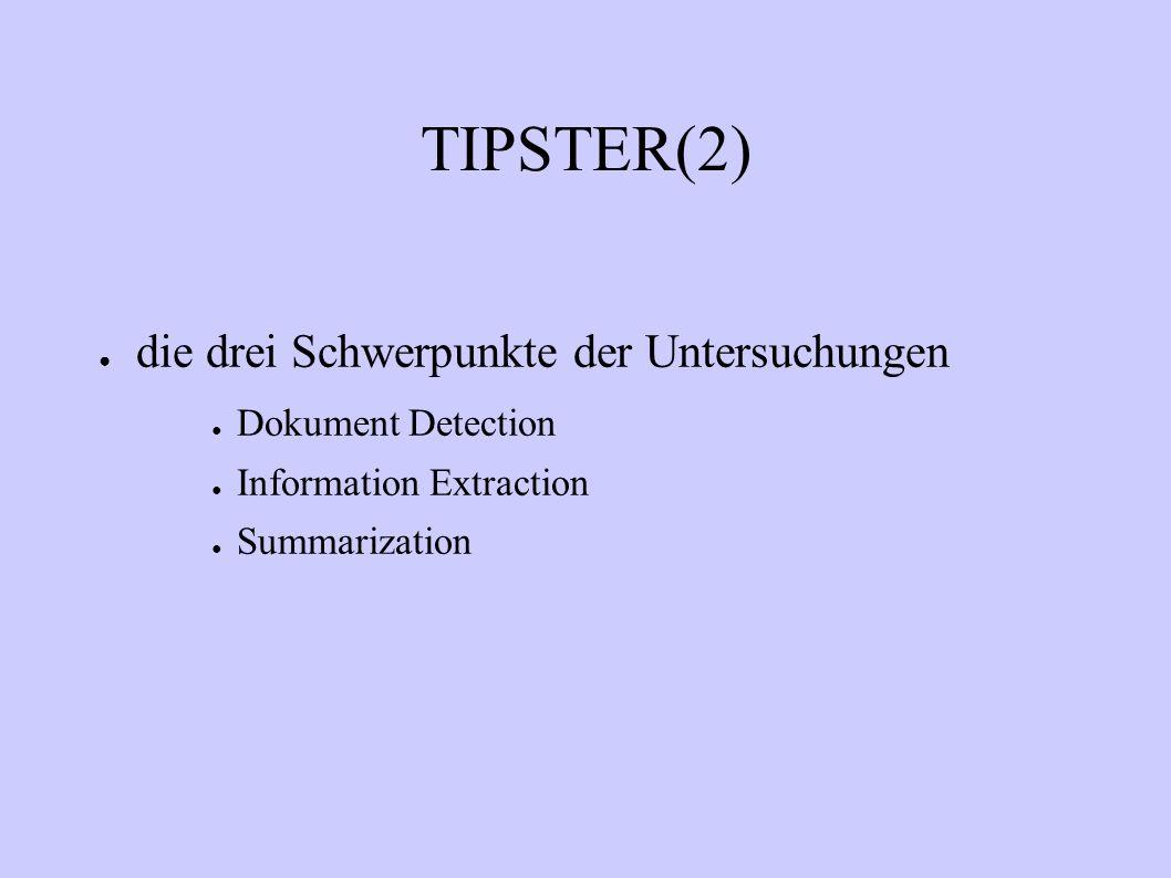 TIPSTER(2) die drei Schwerpunkte der Untersuchungen Dokument Detection