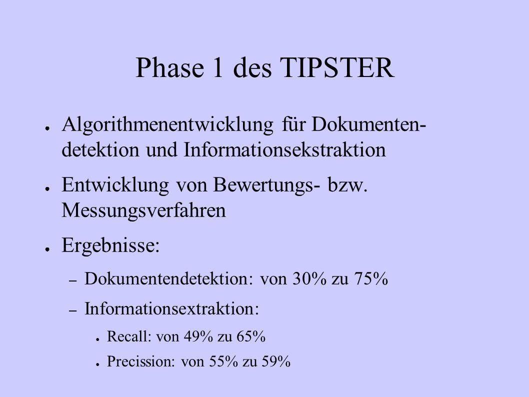 Phase 1 des TIPSTER Algorithmenentwicklung für Dokumenten- detektion und Informationsekstraktion.