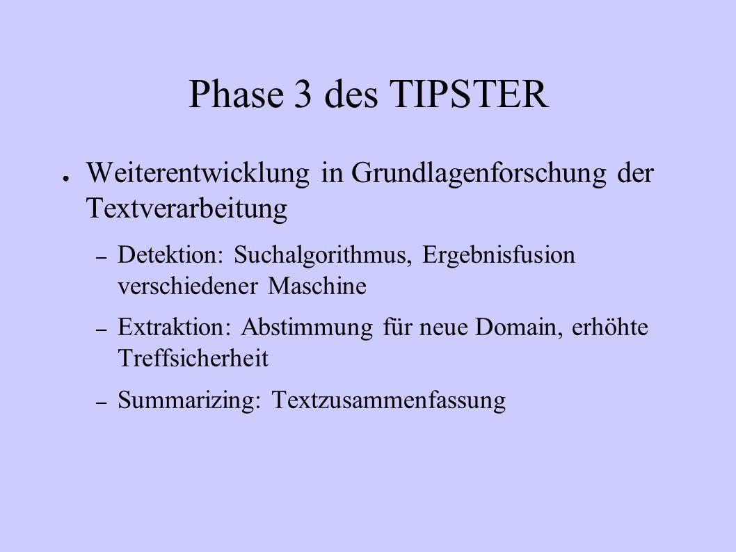 Phase 3 des TIPSTER Weiterentwicklung in Grundlagenforschung der Textverarbeitung.