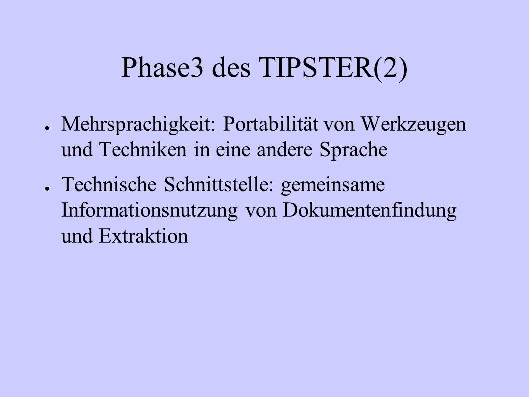 Phase3 des TIPSTER(2) Mehrsprachigkeit: Portabilität von Werkzeugen und Techniken in eine andere Sprache.