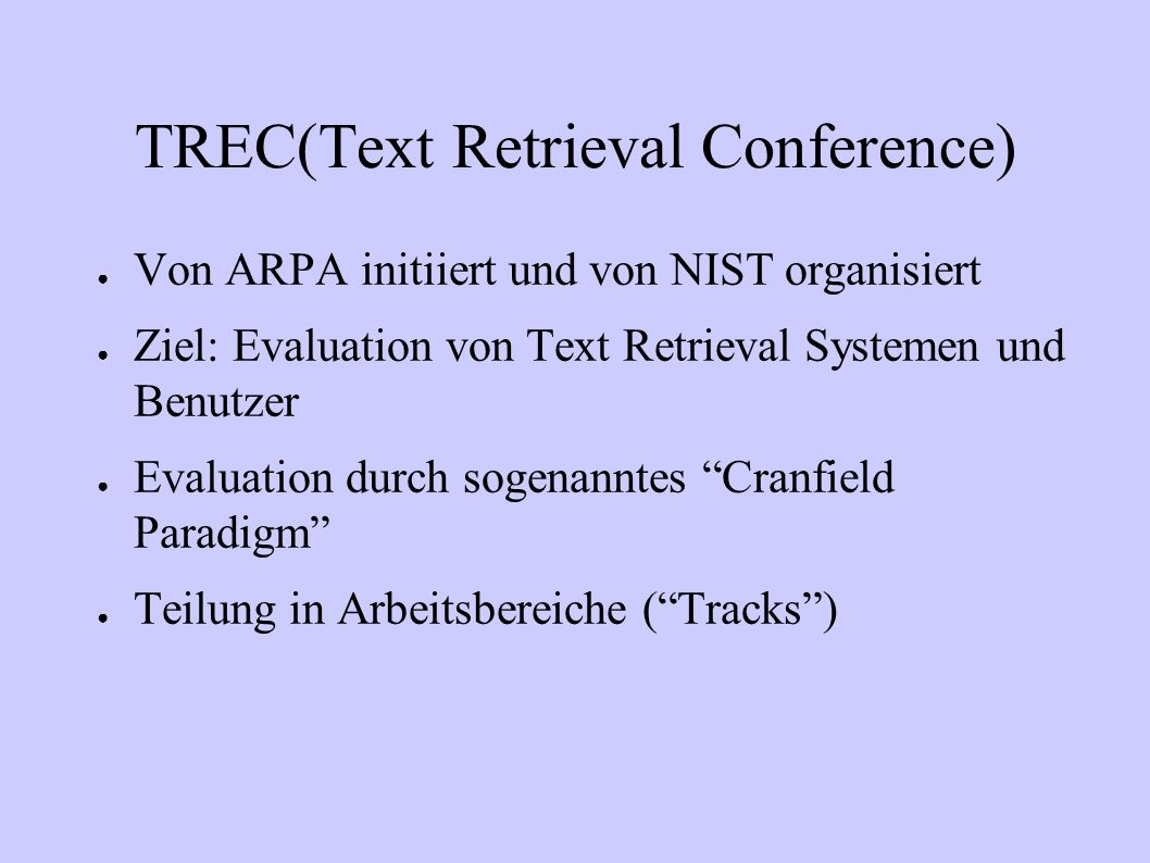 TREC(Text Retrieval Conference)