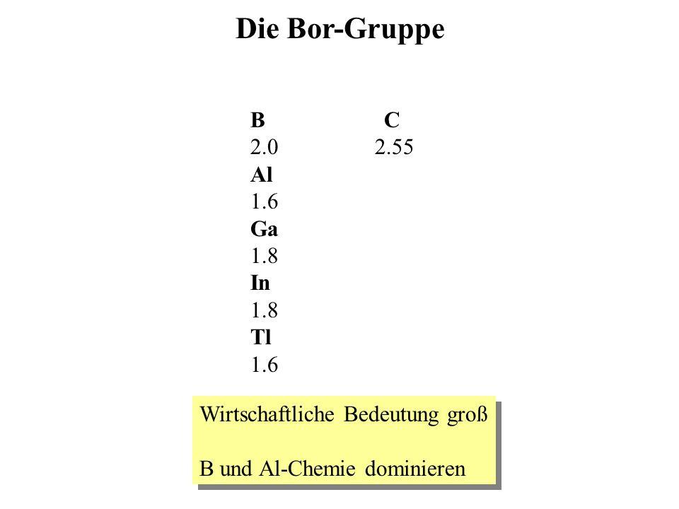 Die Bor-Gruppe B C 2.0 2.55 Al 1.6 Ga 1.8 In Tl