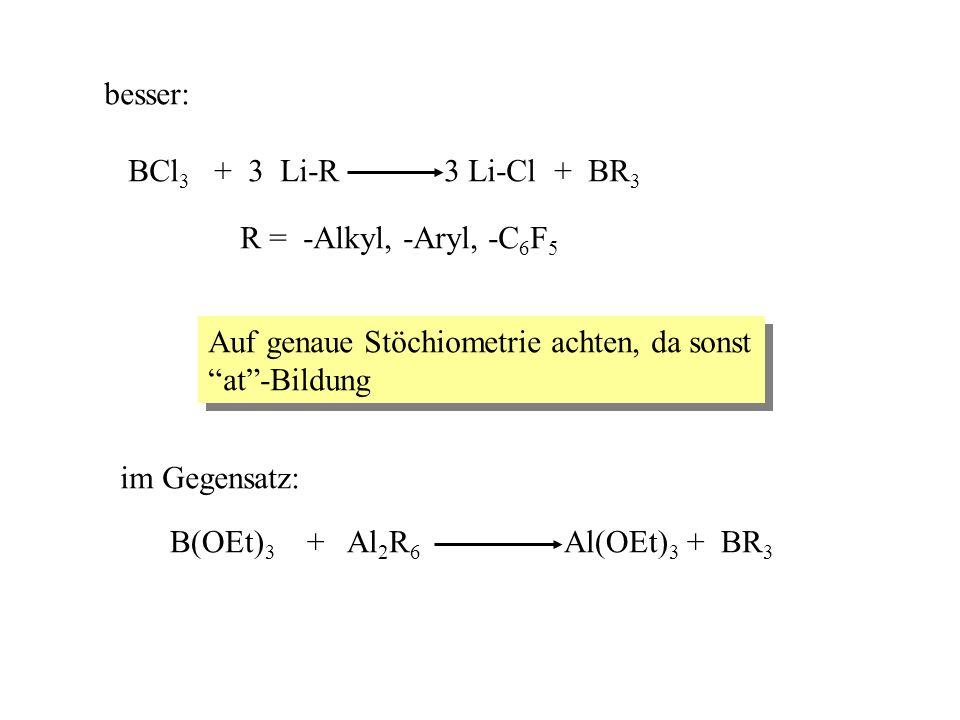 besser: BCl3 + 3 Li-R 3 Li-Cl + BR3. R = -Alkyl, -Aryl, -C6F5. Auf genaue Stöchiometrie achten, da sonst.