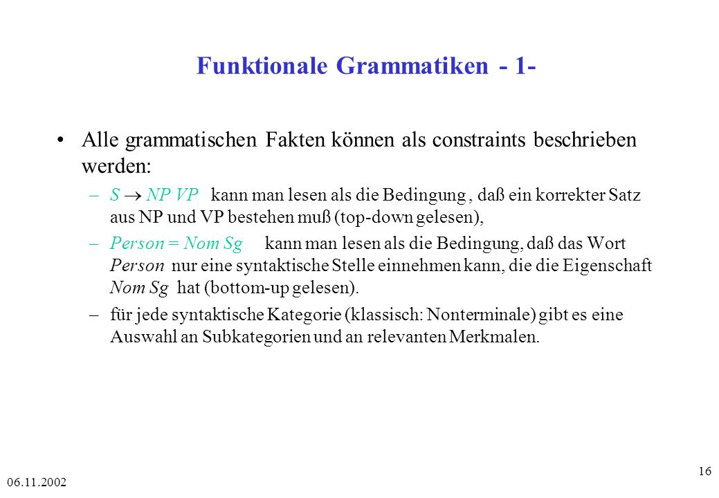 Funktionale Grammatiken - 1-