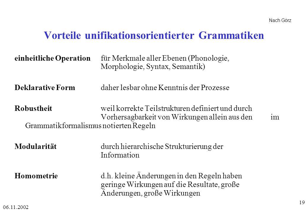 Vorteile unifikationsorientierter Grammatiken