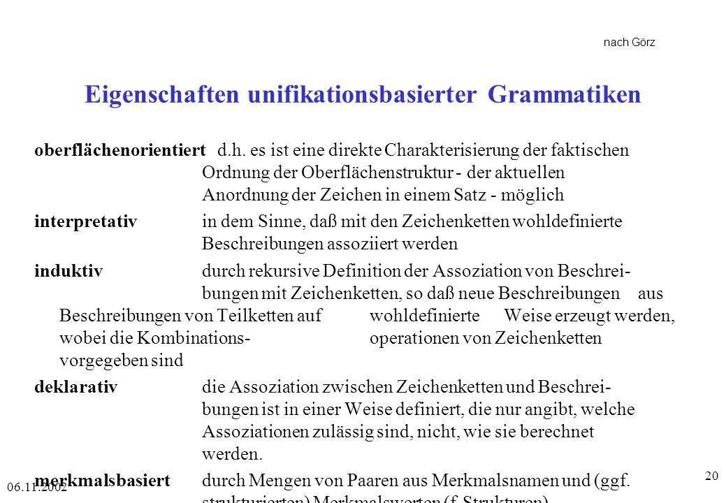 Eigenschaften unifikationsbasierter Grammatiken