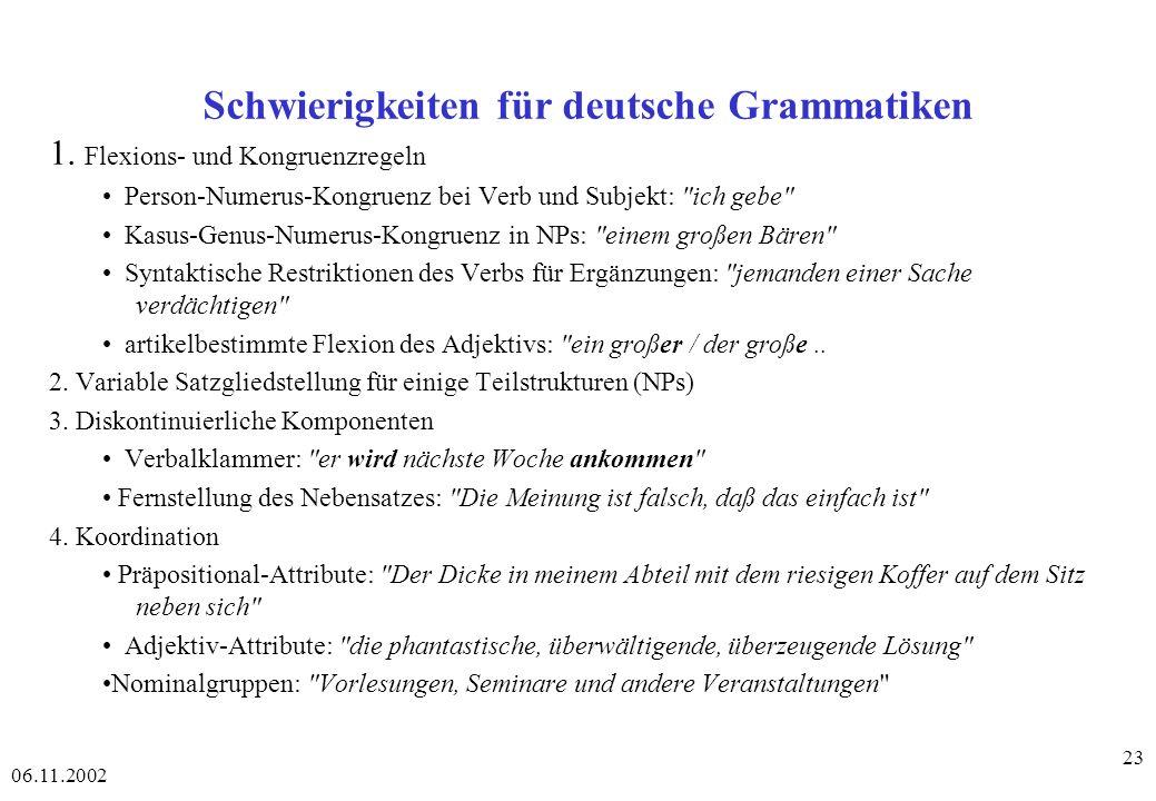 Schwierigkeiten für deutsche Grammatiken