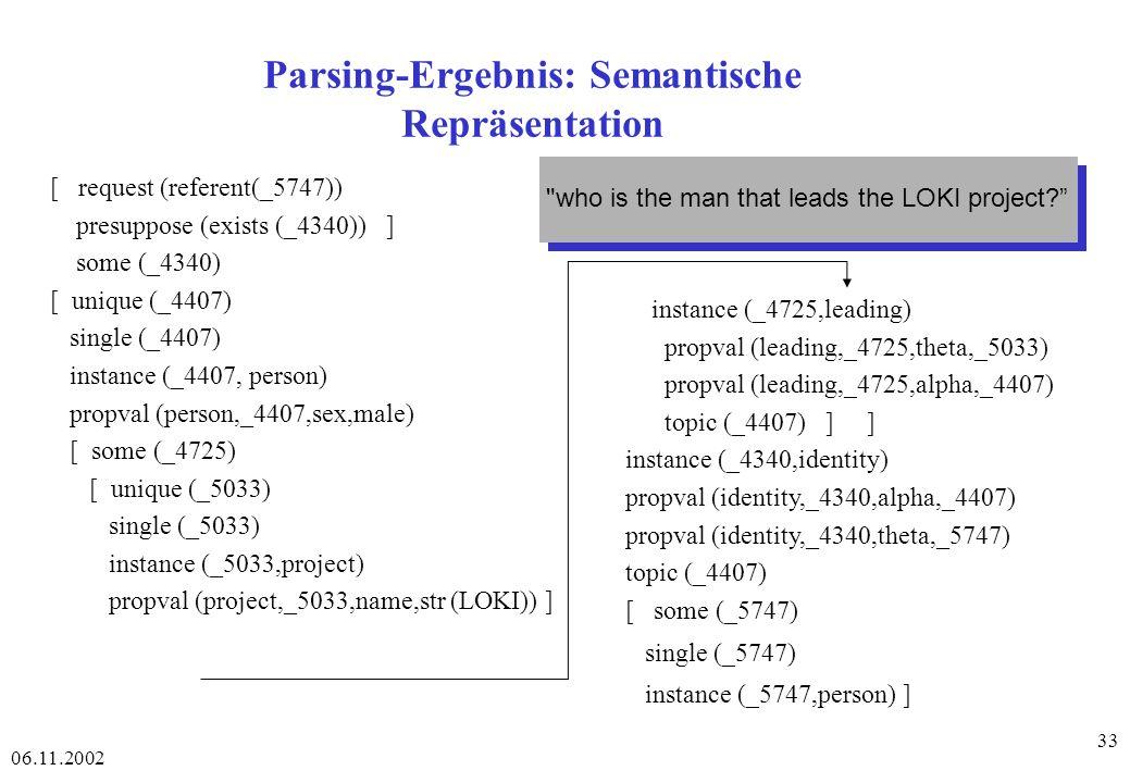 Parsing-Ergebnis: Semantische Repräsentation