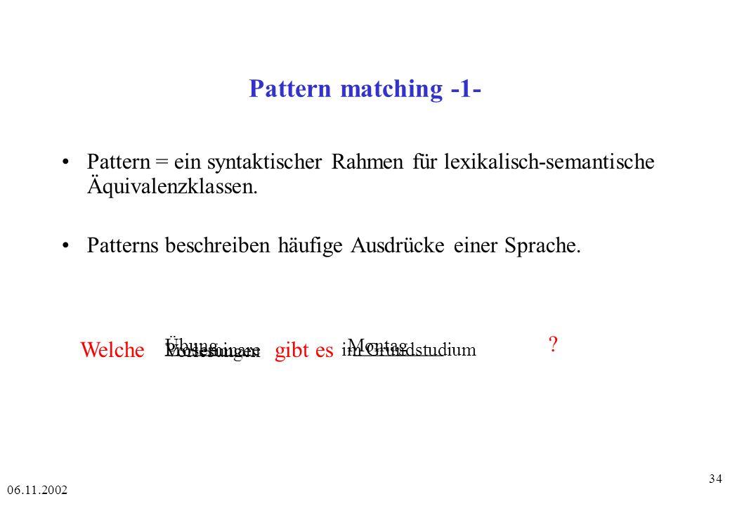 Pattern matching -1- Pattern = ein syntaktischer Rahmen für lexikalisch-semantische Äquivalenzklassen.