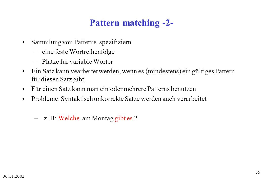Pattern matching -2- Sammlung von Patterns spezifiziern