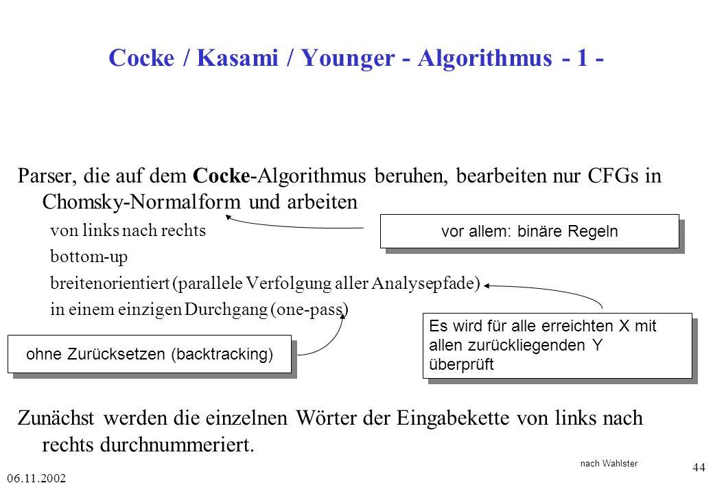 Cocke / Kasami / Younger - Algorithmus - 1 -