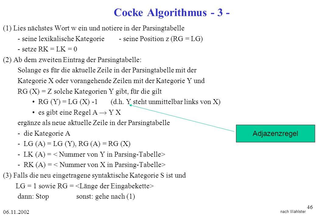 Cocke Algorithmus - 3 - (1) Lies nächstes Wort w ein und notiere in der Parsingtabelle.