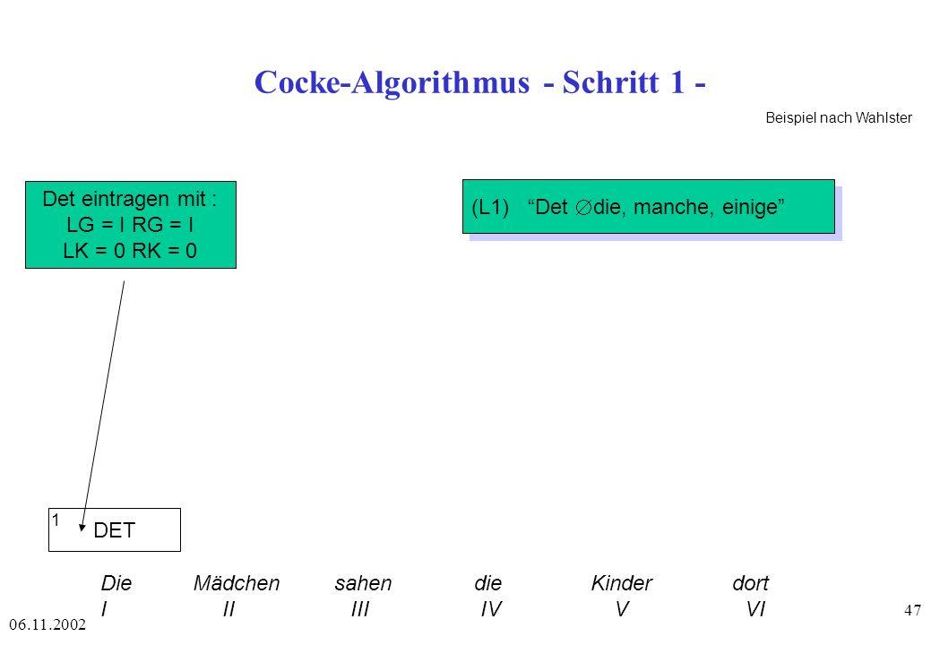 Cocke-Algorithmus - Schritt 1 -