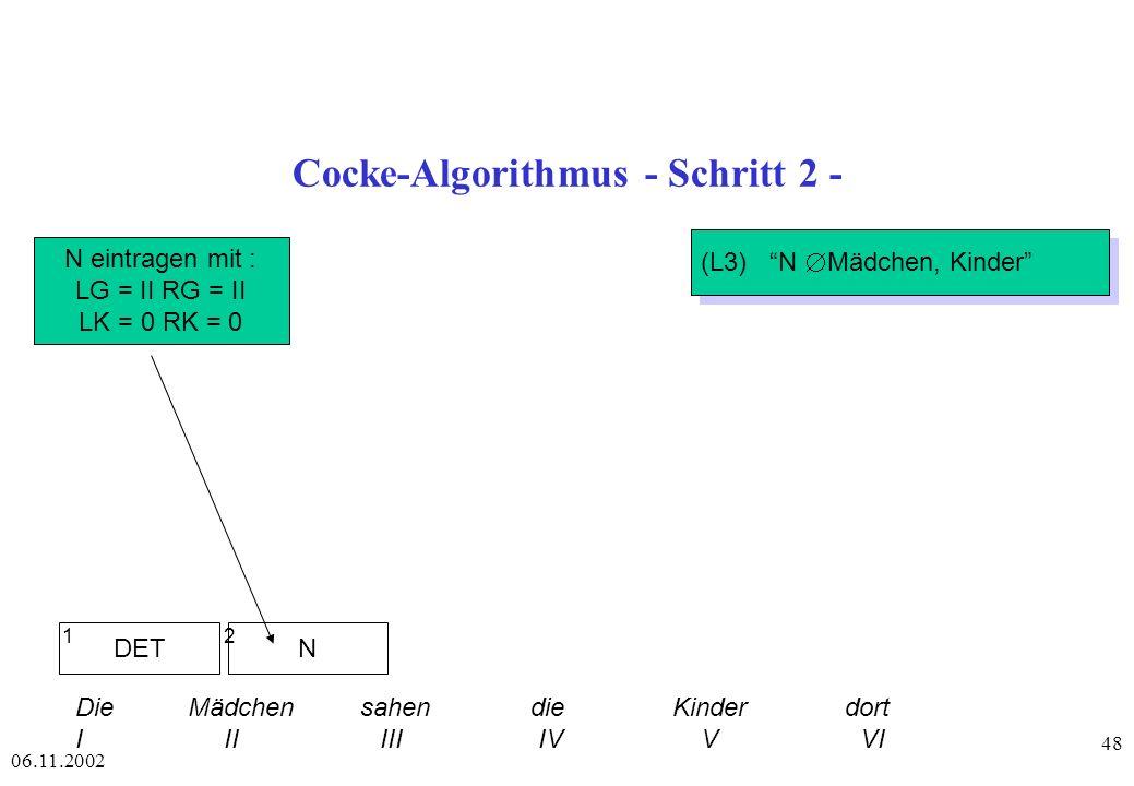 Cocke-Algorithmus - Schritt 2 -