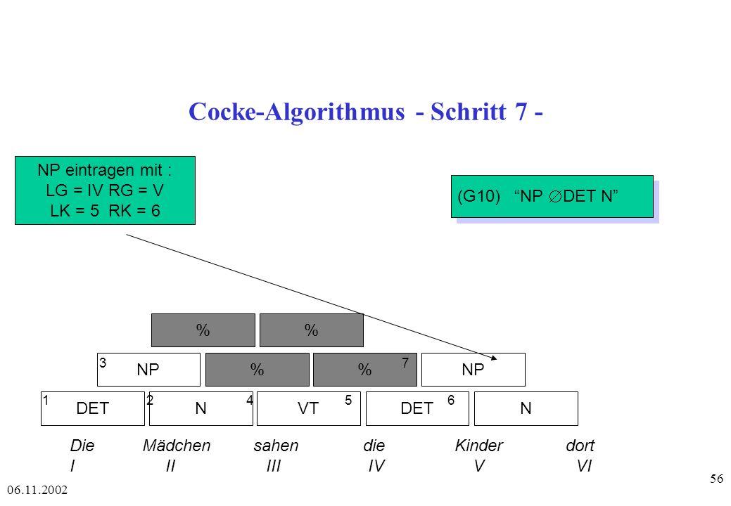 Cocke-Algorithmus - Schritt 7 -