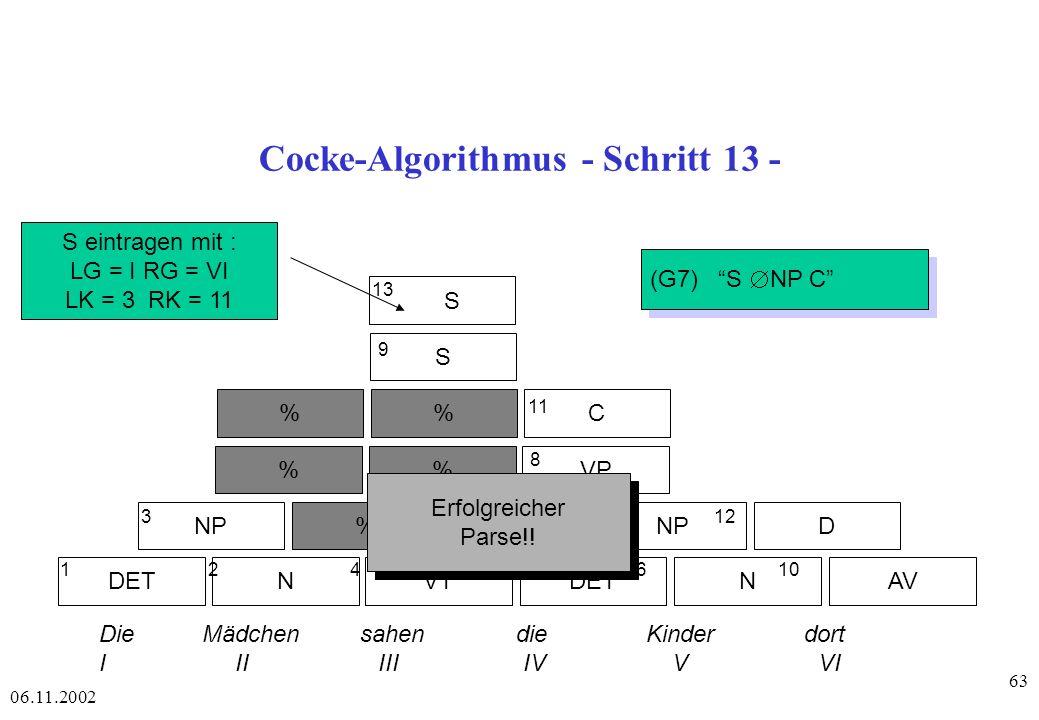 Cocke-Algorithmus - Schritt 13 -