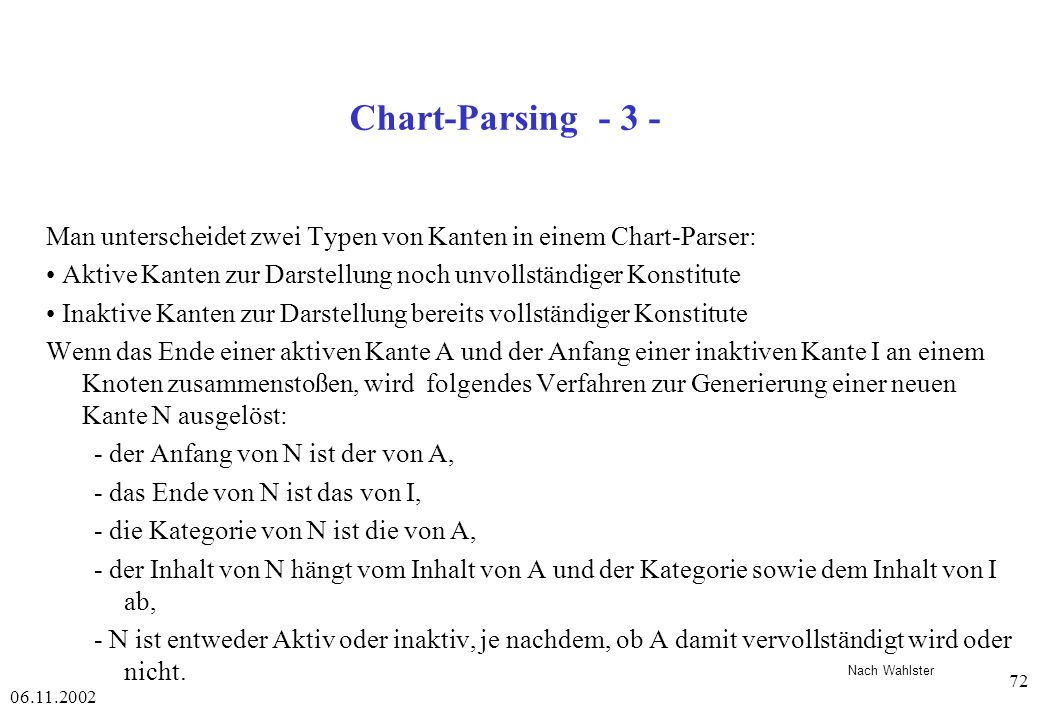 Quelle: Chart-Parsing - 3 - Notizen. Man unterscheidet zwei Typen von Kanten in einem Chart-Parser:
