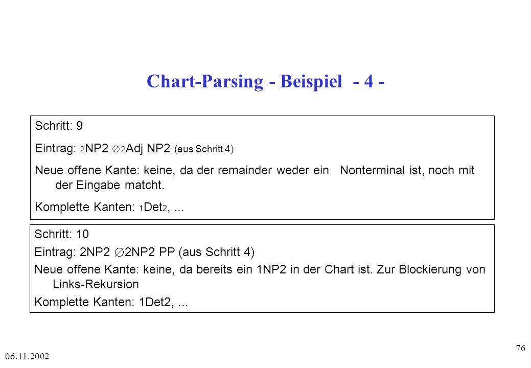 Chart-Parsing - Beispiel - 4 -