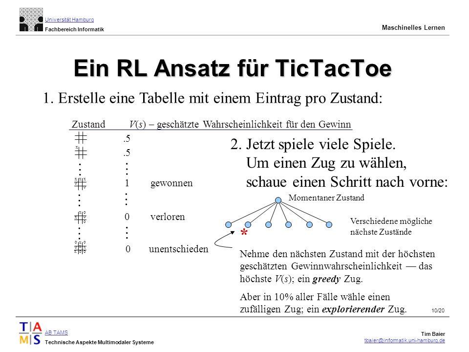 Ein RL Ansatz für TicTacToe