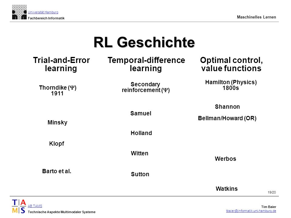 RL Geschichte Trial-and-Error learning Temporal-difference learning