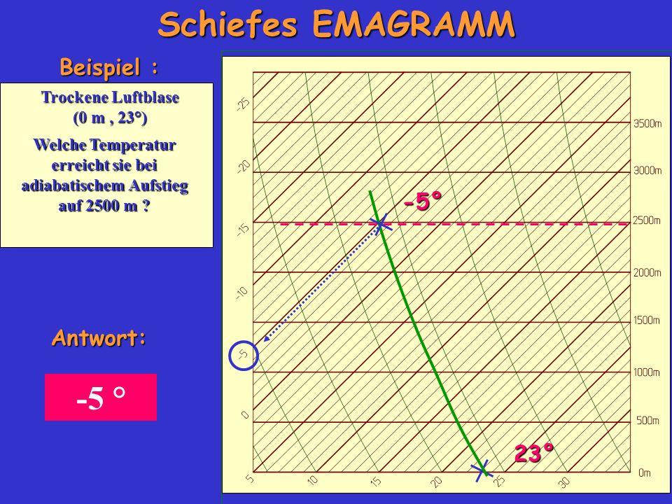 Welche Temperatur erreicht sie bei adiabatischem Aufstieg auf 2500 m