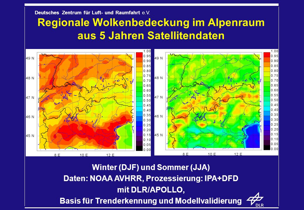 Regionale Wolkenbedeckung im Alpenraum aus 5 Jahren Satellitendaten