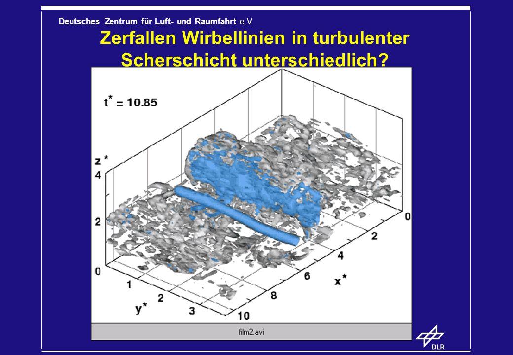 Zerfallen Wirbellinien in turbulenter Scherschicht unterschiedlich