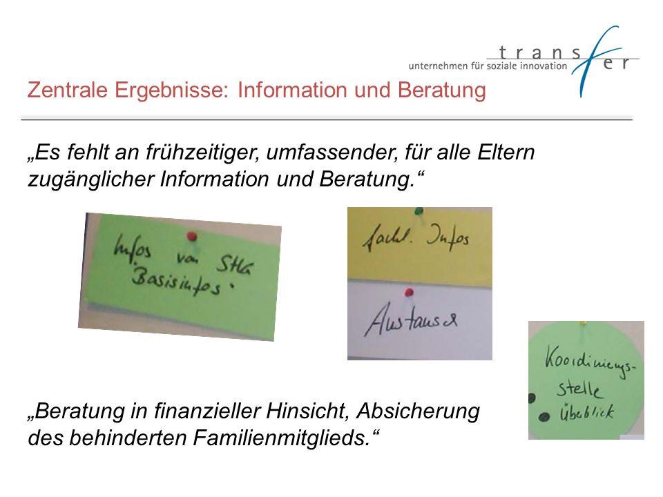 Zentrale Ergebnisse: Information und Beratung